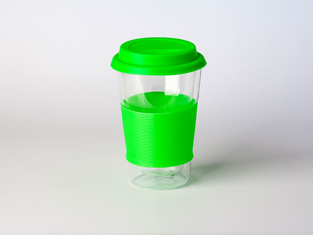GLASS MUG 400ML DOUBLE WALL WITH SILICON LID AND RING